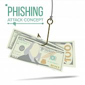 Phishing Money Concept Vector. Financial Bankruptcy. Hacking Attack. Cartoon Illustration poster