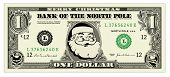 Vector Santa One Dollar Bill. All pieces are separate and easy to edit. Perfect for holiday invitations and cards