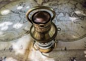 Beautiful Colorful Vintage Old Map With Ancient Lantern. Old Map Of The World Hemispheres poster