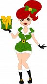 Illustration of a Pinup Girl Dressed as an Elf