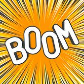 Boom Comic Explosions Template. Decorative Backgrounds With Flash From The Bomb Explosive. Funny Car poster