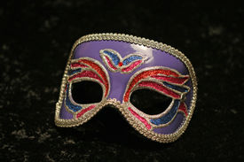 image of mardi-gras  - Enchanting And Colorful Mardi Gras Party Mask On A Black Background - JPG