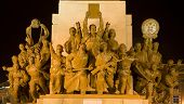 image of zedong  - Mao Statue Heroes at the Base of Statue Zhongshan Square Shenyang Liaoning province China at Night - JPG