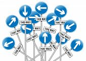 stock photo of mayhem  - Illustration depicting a large number of directional roadsigns in a chaotic arrangement - JPG