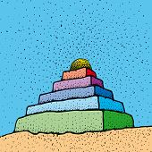 stock photo of ziggurat  - an illustration of a pyramid shaped building - JPG
