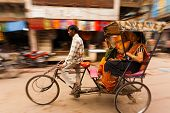 Motion Blur Pan Cycle Rickshaw Passengers India