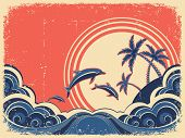 Seascape Waves Poster With Dolphins. Vector Grunge Illustration On Old Paper