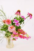 picture of crepe myrtle  - Closeup of colorful flower arrangement in antique cut - JPG