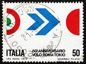 Selo postal 1970 cores da Itália e Japão
