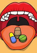 Medical Pills and Tablets on Tongue