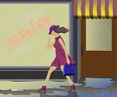 A girl walks
