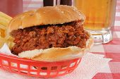Sloppy Joe With A Mug Of Beer