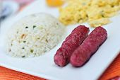Breakfast Fried Garlic Sausage with Egg and Rice