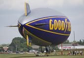 Goodyear Blimp Readying For Flight Side View