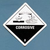 Corrosive hazard symbol warning sign on blue