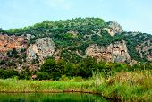 foto of dalyan  - Famous Lycian Tombs of ancient Caunos city Dalyan Turkey - JPG
