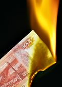 Russian Rubles On Fire