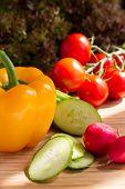 Cut vegetables, salad ingredients