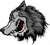 Cabeza de la mascota de lobo Vector Cartoon