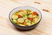 foto of vegetable soup  - Delicious and Hearty Vegetable Soup with Tortellini - JPG