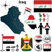stock photo of iraq  - Vector of Iraq set with detailed country shape with region borders flags and icons - JPG