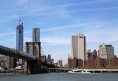Luxury yacht Zephyr under Brooklyn Bridge