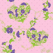 Seamless Pattern - Convolvulus Flowers Hearts On Polka Dot Pink Baskground