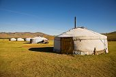stock photo of mongol  - Gers at Terelj Valley Mongolia Central Asia - JPG