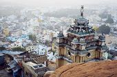 stock photo of trichy  - Famous Rockfort Ucchi Pillayar Temple in Tiruchirappalli  - JPG