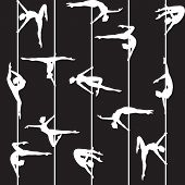 pic of pole dancer  - White pole dancer silhouette on black seamless background - JPG