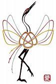 Card With Calligraphic Crane Bird