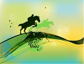 Rider Silhouette In Green Color