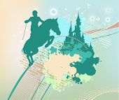 Silhouette Of Horse Rider In Cyan Color