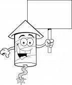 Cartoon Firecracker Holding a Sign (Black and White Line Art)