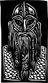 picture of raider  - Woodcut style image of a bearded viking man in armor - JPG
