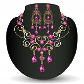 Of Necklace With Pink Jewels And Earrings