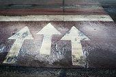 Three White Arrow Road Markings