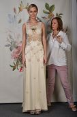 NEW YORK - APRIL 22: Designer Claire Pettibone setting style during for Claire Pettibone bridal pres