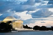 Washington DC, Thomas Jefferson Memorial at sunset with dramatic sky - United States