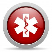 caduceus red circle web glossy icon