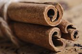 Cinnamon sticks on table