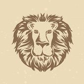 Vector Lion Head In Engraving Style