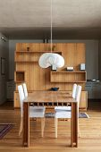 beautiful wooden dining table,  interior of a chalet