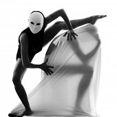 dancer performer mime with mask acting couple lovers conceptual in studio isolated on white backgrou