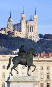 Statue And Fourviere Basilic In Lyon
