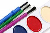 Watercolors And Three Brushes Closeup