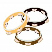 Beautiful Three Tambourine On A White Background