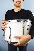 Happy Man With Big Drum