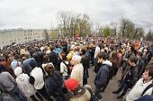 MOSCOW - MAY 6: Participants of the protest manifestation of opposition, Bolotnaya  square in Moscow