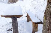 Old Table Bench Deep Snowbank Surface Cover Snow
